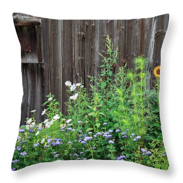 Rustic Barn Wood And Summer Flowers Throw Pillow