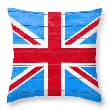 Rustic British Union Jack - Vintage Flag Throw Pillow