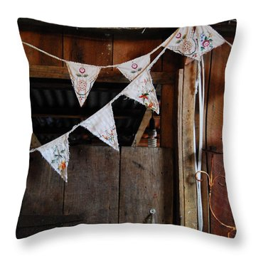 Rustic Bunting Throw Pillow