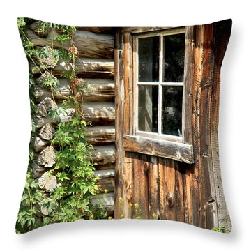 Rustic Cabin Window Throw Pillow