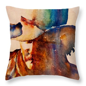 Throw Pillow featuring the painting Rustic Cowboy by Jani Freimann