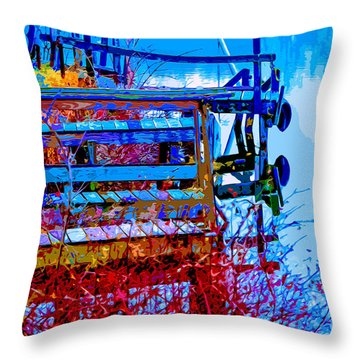 Throw Pillow featuring the mixed media Rustic Docks by Brian Stevens