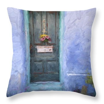 Rustic Door In Tucson Barrio Painterly Effect Throw Pillow