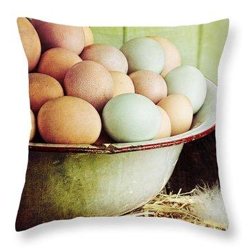 Rustic Farm Raised Eggs Throw Pillow