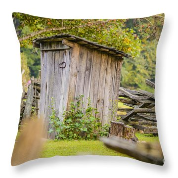 Rustic Fence And Outhouse Throw Pillow