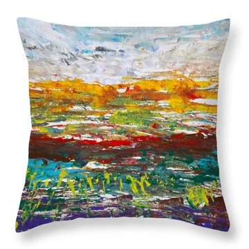 Rustic Landscape Abstract Throw Pillow