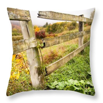 Rustic Landscapes - Broken Fence Throw Pillow by Gary Heller