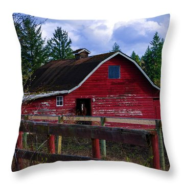 Throw Pillow featuring the photograph Rustic Old Horse Barn by Jordan Blackstone