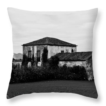 Rustic Outbuildings In A Field  Throw Pillow