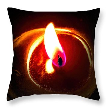 Rustic Red Candle Candlelit Flame Throw Pillow