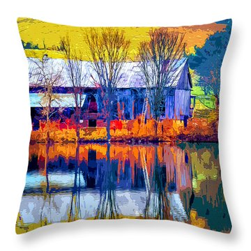 Throw Pillow featuring the mixed media Rustic Reflections 2 by Brian Stevens