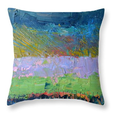 Rustic Roadside Series - Lilac Bushes Throw Pillow