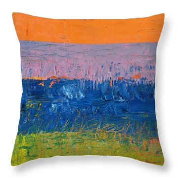 Rustic Roadside Series 2 - Thistle Field Throw Pillow