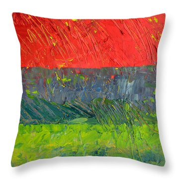 Rustic Roadside Series - Red Sky Throw Pillow