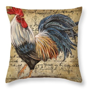 Rustic Rooster-jp2119 Throw Pillow by Jean Plout