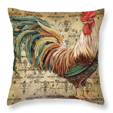 Rustic Rooster-jp2120 Throw Pillow by Jean Plout