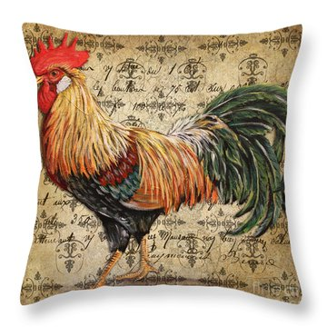 Rustic Rooster-jp2121 Throw Pillow