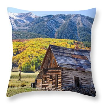 Rustic Rural Colorado Cabin Autumn Landscape Throw Pillow by James BO  Insogna