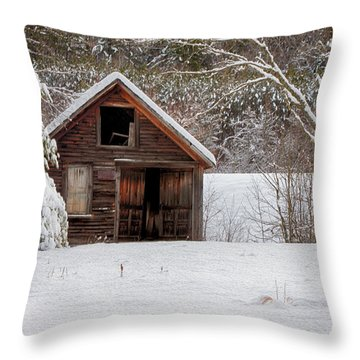 Rustic Shack In Snow Throw Pillow