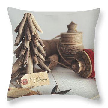 Throw Pillow featuring the photograph Rustic Twine And Ribbon For Wrapping Gifts by Sandra Cunningham