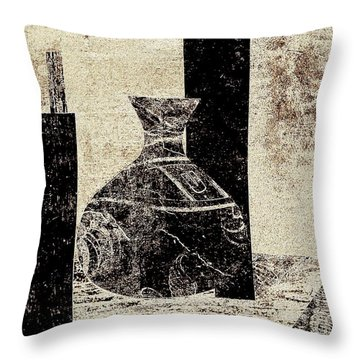 Throw Pillow featuring the painting Rustic Vase Black And White by Patricia Cleasby