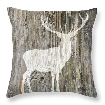 Rustic White Stag Deer Silhouette On Wood Right Facing Throw Pillow by Suzanne Powers
