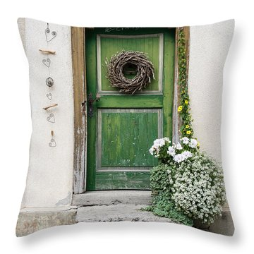 Rustic Wooden Village Door - Austria Throw Pillow