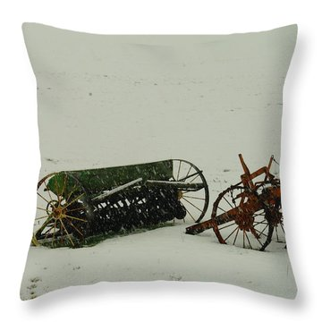 Rusting In The Snow Throw Pillow by Jeff Swan