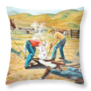 Throw Pillow featuring the painting Rustlers Changing The Brand by Dan Redmon
