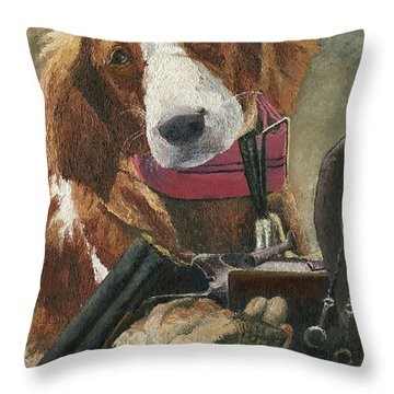 Throw Pillow featuring the painting Rusty - A Hunting Dog by Mary Ellen Anderson
