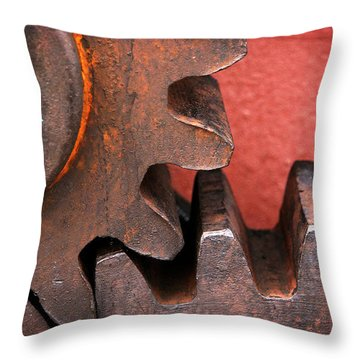 Rusty And Metallic Gear Wheel Throw Pillow