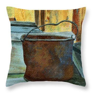 Rusty Bucket Throw Pillow