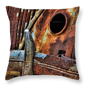 Rusty Car Junkyard Bumper Throw Pillow