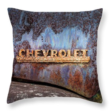 Rusty Chevrolet - Nameplate - Old Chevy Sign Throw Pillow
