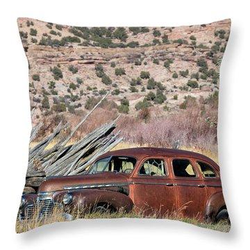 Rusty Chevrolet Special Deluxe In Manila Utah Throw Pillow