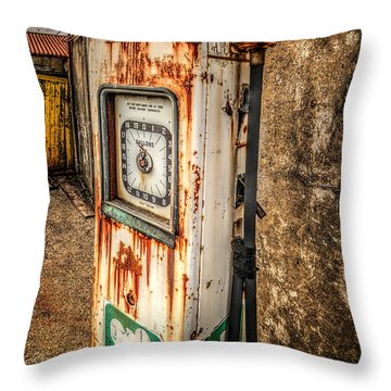 Rusty Gas Pump Throw Pillow by Adrian Evans