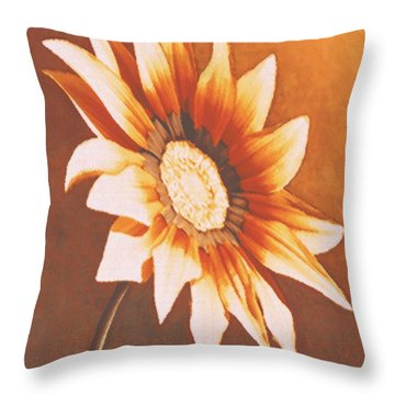 Throw Pillow featuring the painting Rusty Gazania by Sophia Schmierer