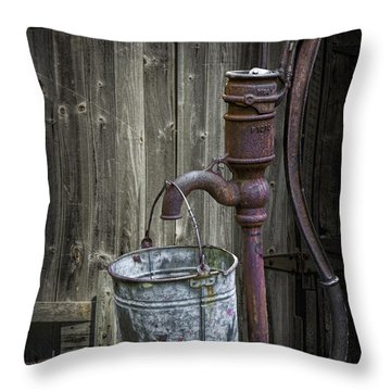 Rusty Hand Water Pump Throw Pillow