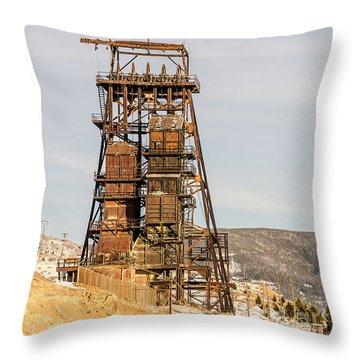 Rusty Mining Headframe Throw Pillow by Sue Smith
