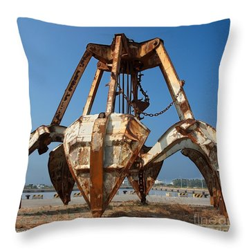 Rusty Obsolete Dredging Equipment Throw Pillow