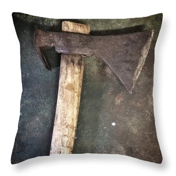 Rusty Old Axe Throw Pillow by Carlos Caetano