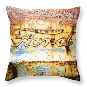 Rusty Old Ford Closeup Throw Pillow