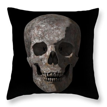 Rusty Old Skull Throw Pillow