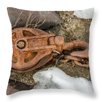 Rusty Pulley And Chain Throw Pillow