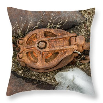 Rusty Pulley And Chain Throw Pillow by Sue Smith