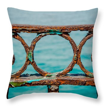 Rusty Railings In Marseille Throw Pillow