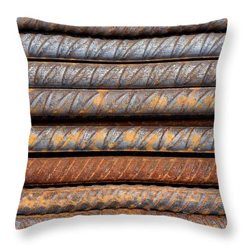 Rusty Rebar Rods Metallic Pattern Throw Pillow