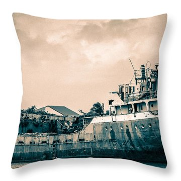 Rusty Ship Throw Pillow