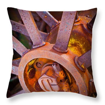 Rusty Spokes Throw Pillow by Inge Johnsson