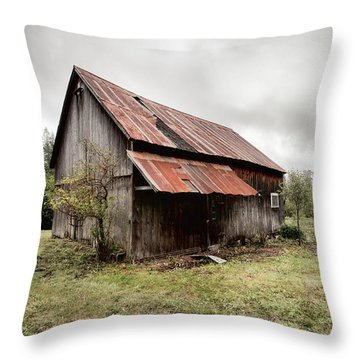 Rusty Tin Roof Barn Throw Pillow by Gary Heller